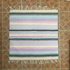 """Native American Style Rug / Mat 31"""" x 31"""" Pale Pink, Lavender, Turquoise & Black"""