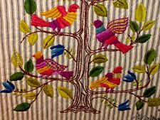 ANTIQUE ORIGINAL Completed Needlepoint Crewel Colorful Birds Blue Bloomimg Tree