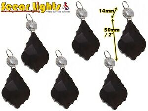 BLACK GOTHIC LEAF 6 CHRISTMAS CHANDELIER CRYSTALS DROPS TREE DECORATIONS BEADS