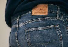 New Ralph Lauren Polo Varick Straight Zip Fly Blue Waist 40 Length 32 Mens Jeans