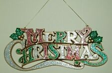 CHRISTMAS WALL HANGING PLAQUE 'MERRY CHRISTMAS' GOLD & GLITTERED DECORATION