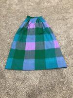 Vintage Handwoven Women's Plaid Skirt Zipper Button Long Purple/Green XS A1