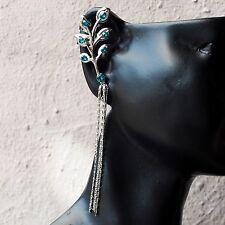 Neu EAR CUFF mit SWAROVSKI STEINE blue zirkon/blau-grün OHRRINGE Ohrklemme