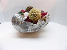 Fitz & Floyd Seashell Centerpiece Faux Silver Glaze Potpourri Filled HTF Metal