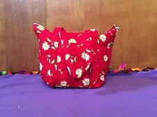 Handmade Quilted Red Daisy Purse 1 Outer & 6 Inner Pockets W Removable Insert
