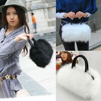 Women Faux Rabbit Fur Handbag Shoulder Messenger Bag Cross Body Tote Satchel