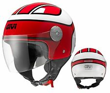 CASCO DEMI JET GIVI 10.7 MINI BOBBER RED ROSSO PER SOTTO SELLA SCOOTER TG S