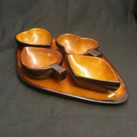 VINTAGE MAHOGANY WOOD SNACK BOWL SET BY CARIBBEAN CRAFT HAITI CARD NIGHT SUIT