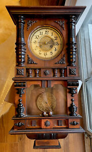 Unusual Antique German Free Swinger Vienna Wall Clock - Ornate Case