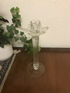 Pretty Glass Lotus Flower Candle Stick Holder