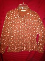 Western Women's Med Rockies Brown Long Sleeve Snap Button Blouse