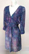 GEORGE blue sheer chiffon Tie back 3/4 puff sleeve Knee length shirt dress 16