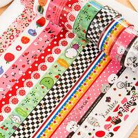 10X Washi Paper Scrapbooking Decorative Sticker Masking Adhesive Tape Roll NIUK