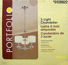 "PORTFOLIO 3-Light ""Contemporary Style"" Polished Chrome Chandelier - NEW"