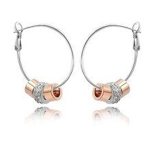 18K White+Rose Gold GP Made With Swarovski Crystal Bead Stylish Hoop Earrings