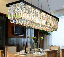 "2 Colors 48"" Rectangle Crystal Chandelier Lighting Pendant Light for Dining Room"