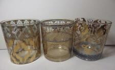(3) Patina Vie Old Fashioned Cocktail Glasses IKAT Gold Clear Blue