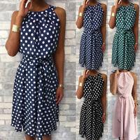 Women Sleeveless Summer Beach Midi Dress Casual Polka Dot Holiday Party Sundress