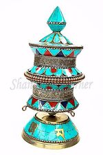 STUNNING Buddhist Prayer Wheel Desk Brass Stone Coral Lapis Turquoise 8""