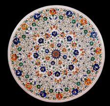 "36"" Marble Table Top Semi Precious Stone Lapis Carnelian Handmade Home Decor"