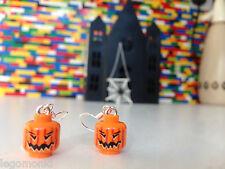 Handmade MonkiStuff Pumpkin Head Earrings made from LEGO® Heads Halloween