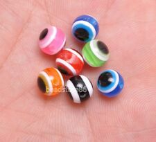 200pcs Mixed color loose bead Evil Eye Stripe Round Resin Spacer Beads 8mm