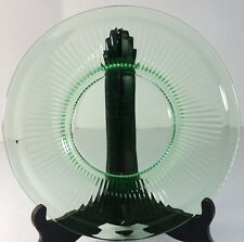 "Vintage Depression Glass Green 8"" Salad Plate w/ Radial Lines"