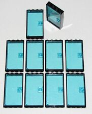 LEGO LOT OF 10 BLACK 1 X 4 X 6 DOOR FRAME TRANS-LIGHT BLUE DOOR CITY TOWN HOME