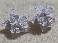 VTG Carved White Plastic Lucite 1950's MCM Screw Back Earrings Retro Flowers
