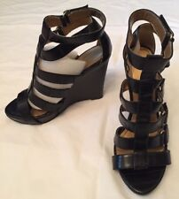 NEW Size 7m MICHAEL ANTONIO SHOES Solid Black Wedge Heel Ankle Strap Gold Metal