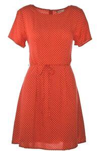 ONLY Sommer Kleid A Linien Kleid DOTS Tupfen Rot Weiß Schleife 38 40 NEU