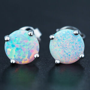 White Rainbow Fire Mystic Opal Round Shaped Platinum Women Silver Stud Earrings