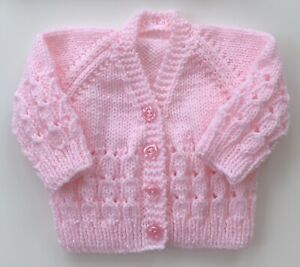 Brand New Hand Knitted Baby Girls Cardigan In  Pink 0/3 Months