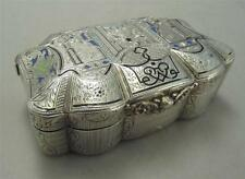 French First Standard Enameled Silver Desk Snuff Box Ships Cherubs BCG