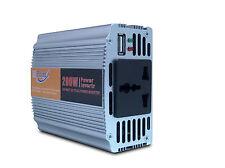 12v PORTABLE POWER INVERTER CAR ADAPTOR TO 220v USB & HOUSE MAINS PLUG 200w