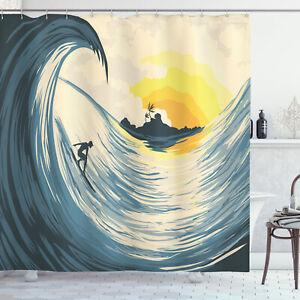 Ocean Shower Curtain Cloudy Tropical Island Print for Bathroom
