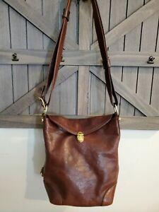 Marino Orlandi Vintage Cognac Brown Leather Bucket Shoulder Bag made In Italy