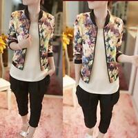 Women Fashion Stand Collar Long Sleeve Zipper Floral Printed Bomber Jacket