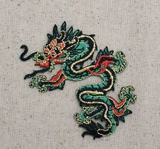 Iron On Embroidered Applique Patch - Chinese Green/Red Dragon Facing LEFT SMALL