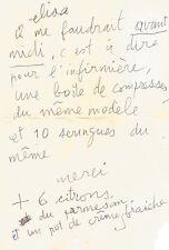 Serge GAINSBOURG Lettre autographe signée « S » à Elisa. 1985.