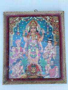 Vintage Indian Original Old Print of 4 Armed Vishnu Hindu Mythology Spiritual