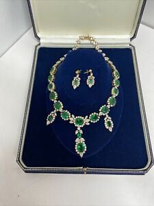 NECKLACE AND MATCHING EARRINGS GREEN GEMSTONE. CZ 14K 925..