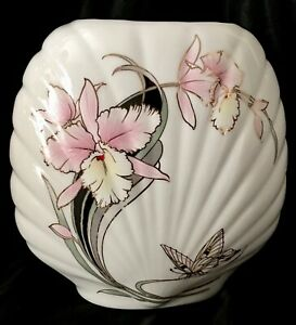 Scallop Shaped White Porcelain Vase with Orchids & Butterfly Gold Gilt