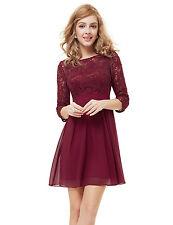 Ever Pretty Women'S Cute Marsala 3/4 Sleeve Short Cocktail Dress UK Seller 05075