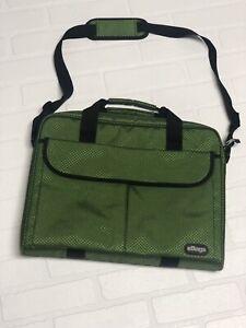 eBags Laptop Briefcase Slim Shoulder Bag Green Black Clean!