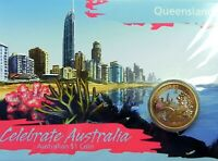 2009 $1 CELEBRATE AUSTRALIA QUEENSLAND Coin on Card