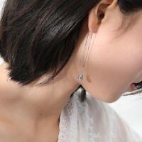 Damen Ohrringe Durchzieher Tropfen Blau echt Sterling Silber 925 Glas