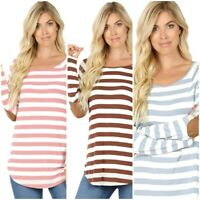 Plus Size Striped Long Sleeve Stretchy Boat Neck Elbow Patch Tee Top 1x/2x/3x