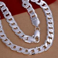 New 925Sterling Solid Silver Men Women Jewelry 12MM Chain Necklace 20inch N202