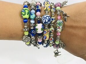Boho Chic Style Vintage Artisan Glass Beads Charms Crystals Bracelets Set Of 6